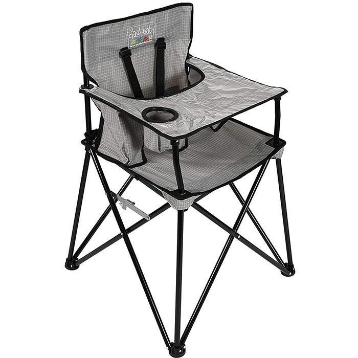 ciao baby portable high chair gray check