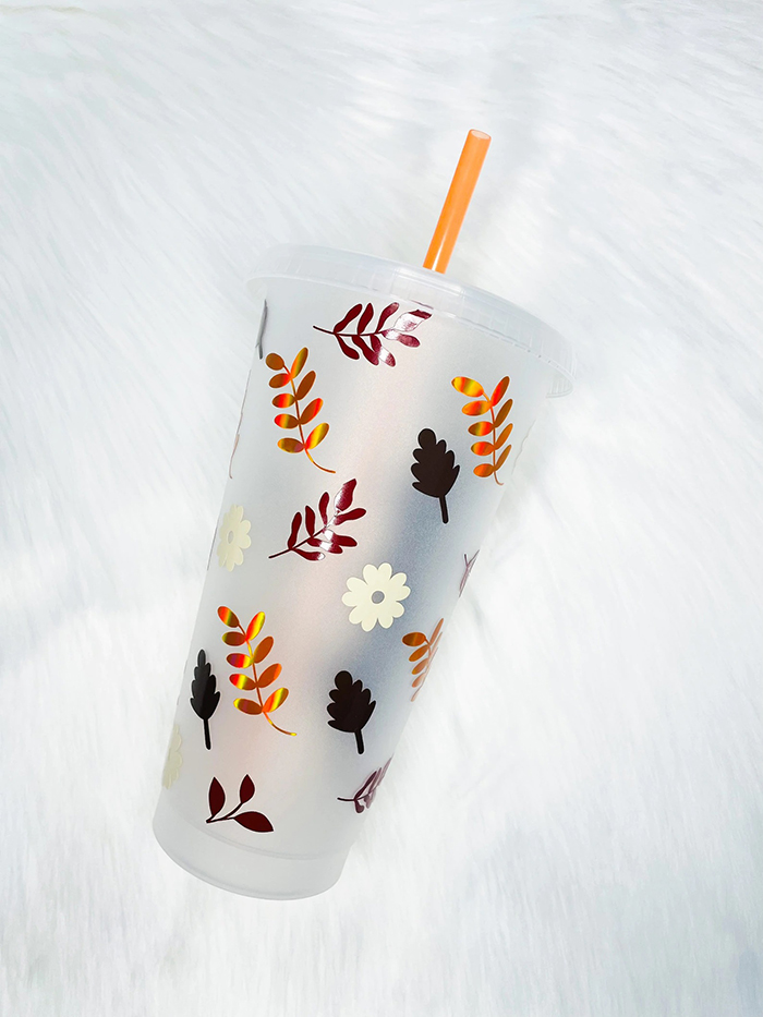 disney themed autumn leaves plastic cold cup with straw