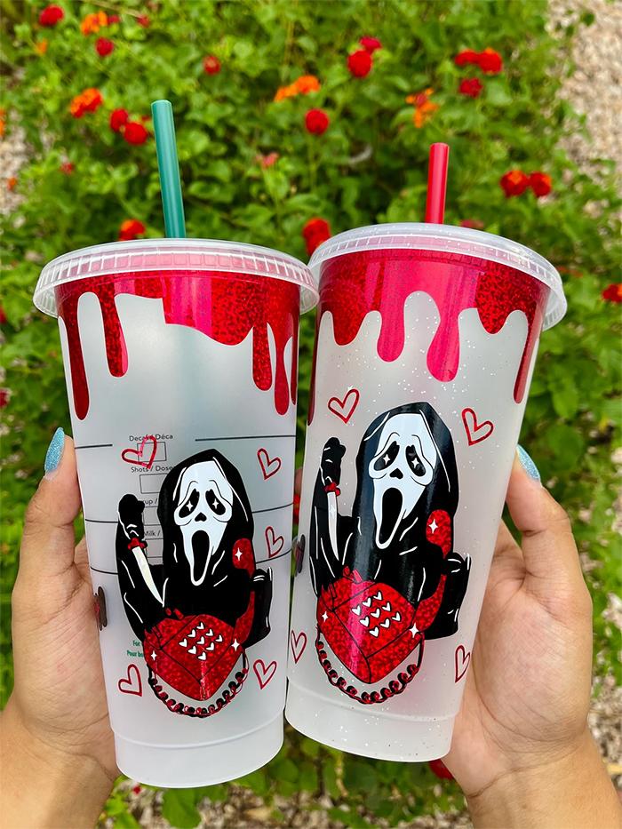 ghostface design reusable cold cup