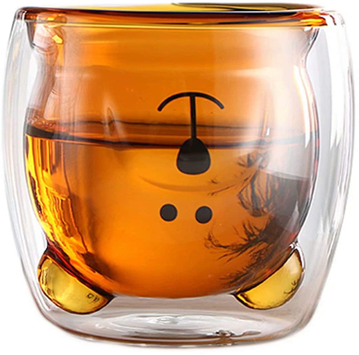 glass bear cup honey-colored inner layer