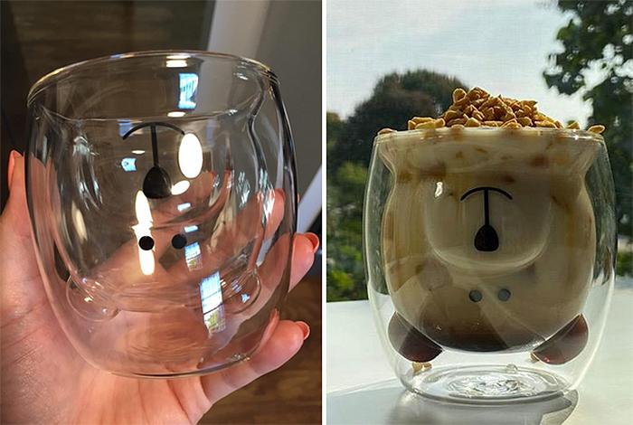 glass bear cup upside down design