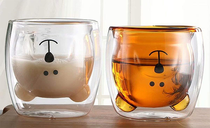 glass bear cup upside down head
