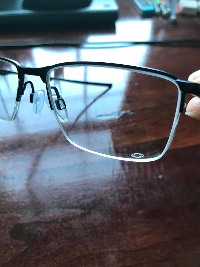 glasses logo on the lens
