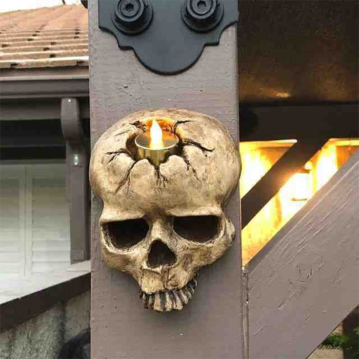 gothic skull candle holders