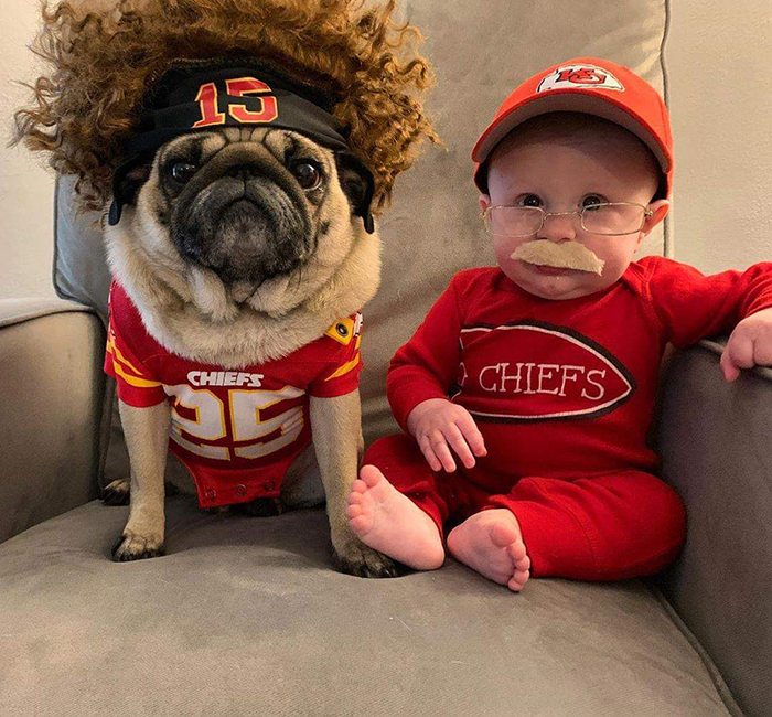 pet dog dressed as patrick mahome and baby dressed as candy reid