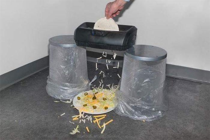 shredding tortilla with paper shredder