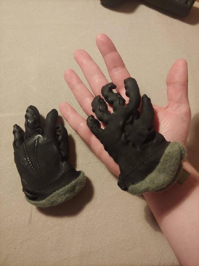 shrunken leather gloves after machine wash