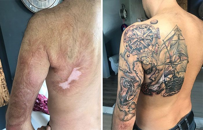 tattoo cover-ups back scar pirate ship