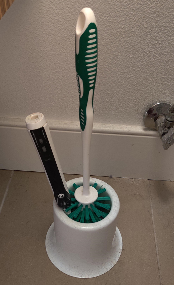things gone wrong electric toothbrush inside toilet brush holder