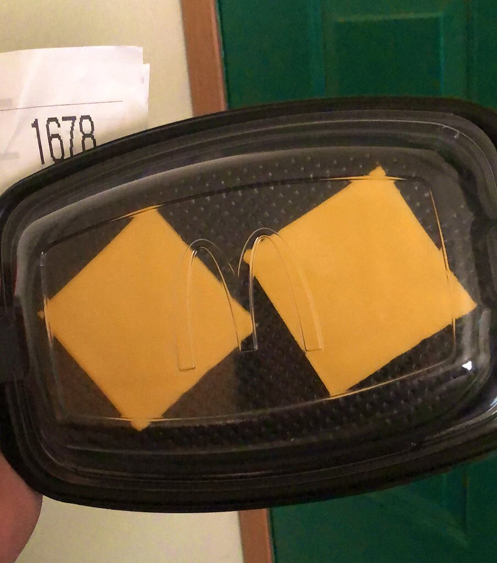 things gone wrong mcdonalds delivery two slices of cheese