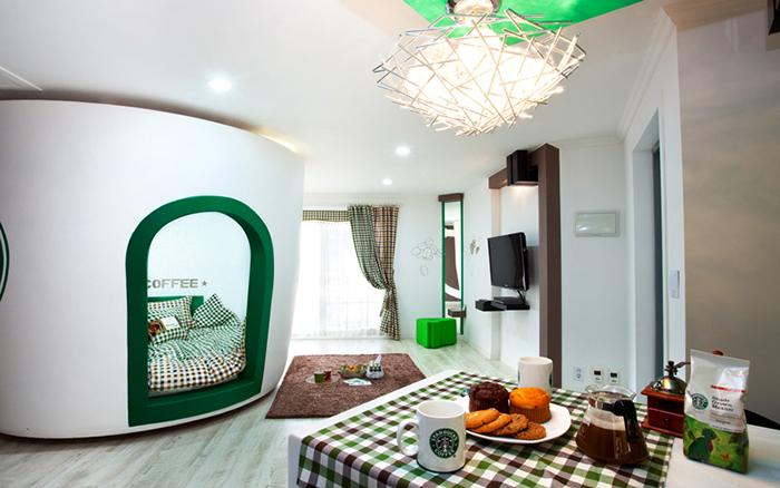 unique pension korea starbucks themed room