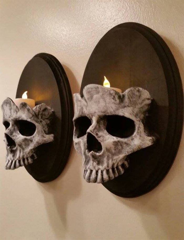 wall-mounted gothic skull candle holders