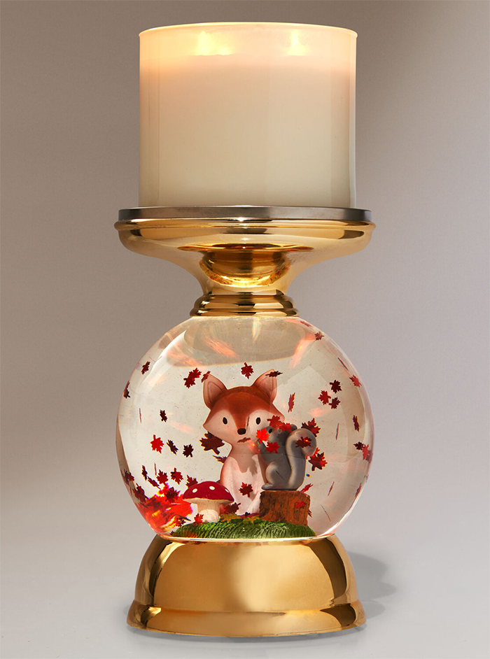 water globe candle holder swirling leaves