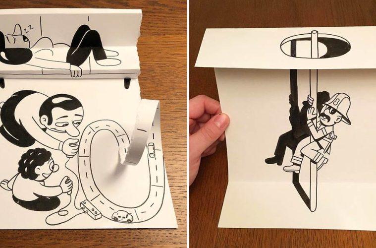 3d folded paper art