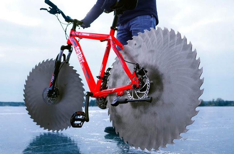 bicycle with saw blade tires