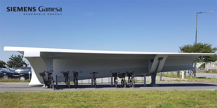 recycling wind turbine blades bike shed denmark