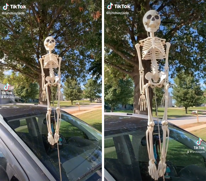 tiktok halloween trend skeletons car antenna