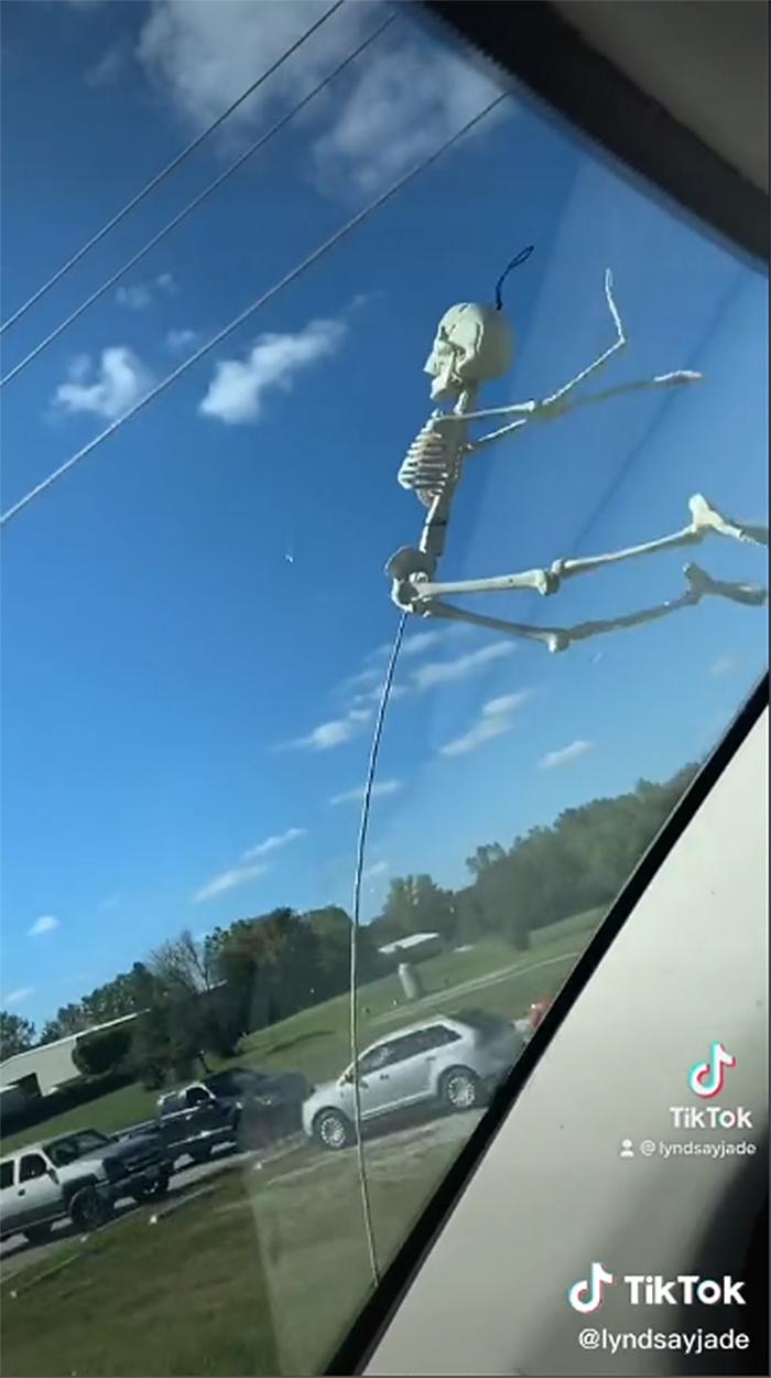 tiktok trend skeletons car antenna