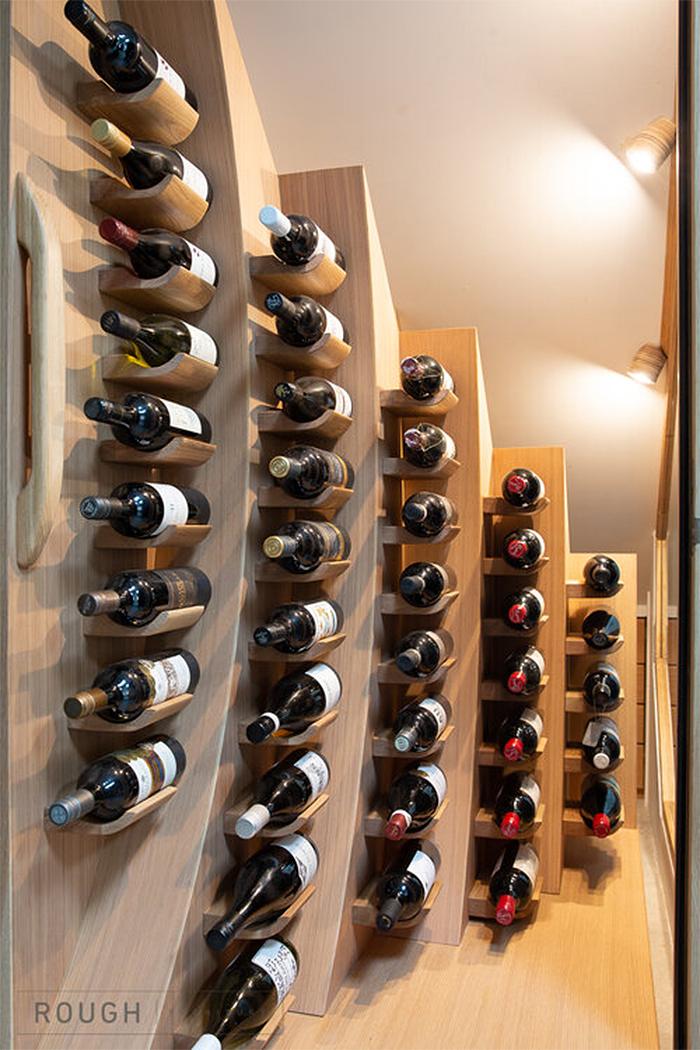 under stairs wine rack wooden shelves