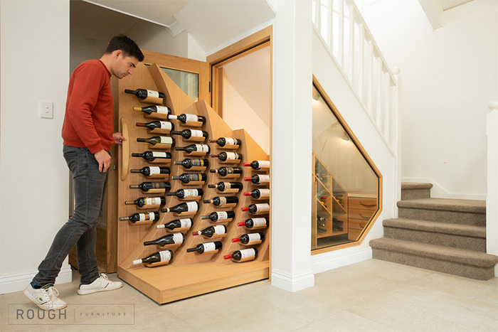 under-the-staircase slide-out storage shelves