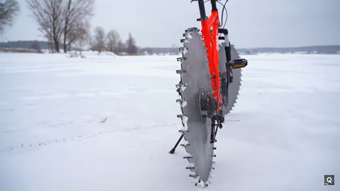 upgraded bike with sharp edges ice cycling