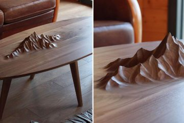 wooden tables with mountains